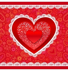 lacy Valentines day hearts greeting card vector image
