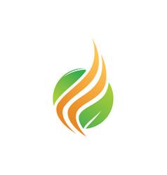 leaf organic wave logo vector image vector image