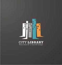 Logo design idea for library or book store vector image vector image