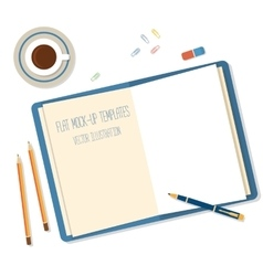 Open a blank white notebook pen andpencils on the vector image vector image