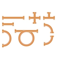 Pipes with fitting bronze pipes for water vector