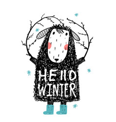 Quirky winter sheep in warm clothes hello winter vector