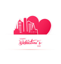 Red heart and silhouette of detroit city paper vector