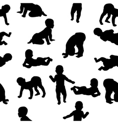 Seamless pattern child silhouettes vector image vector image