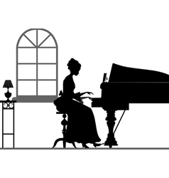 Silhouette playing piano woman vector image vector image