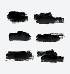 six grunge paint stroke set vector image vector image