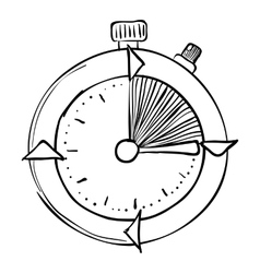 Stopwatch icon hand drawn style vector