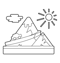 Travel by car in mountains concept outline style vector