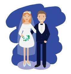 Wedding couple collection smiling bride and groom vector