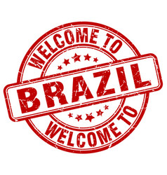 Welcome to brazil red round vintage stamp vector