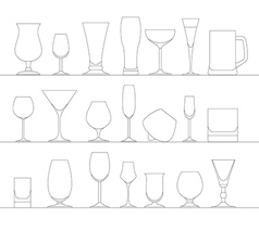 Alcohol glasses flat icon set different alcohol vector