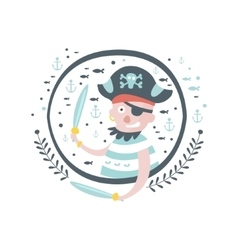 Pirate Fairy Tale Character Girly Sticker In Round vector image