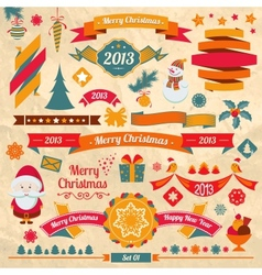 Christmas retro elements vector