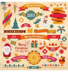 Christmas retro elements vector image