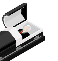 Deceased in coffin late lamented lay in wooden vector