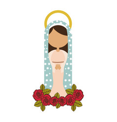 White background of faceless virgin of guadalupe vector