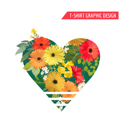 Vintage colorful flowers graphic design t-shirt vector