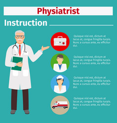 Medical equipment instruction for physiatrist vector