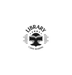Black and white library logotype on white vector