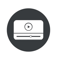 Monochrome round mediaplayer icon vector