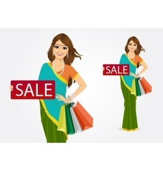 Indian woman with shopping bags vector