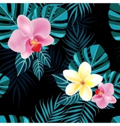 Tropical foliage and flowers vector