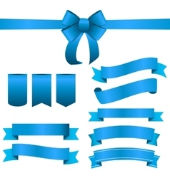 Blue ribbon and bow set vector