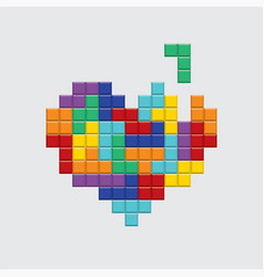 Valentines day card video game colorful heart vector