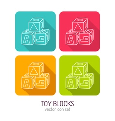 Line art toy blocks for kids icon set in four vector