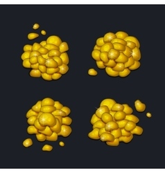 Pile of gold pieces set on dark background vector