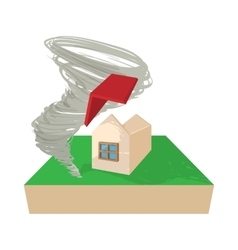 House destroyed by hurricane icon cartoon style vector