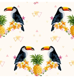 Geometric pineapple and toucan background vector