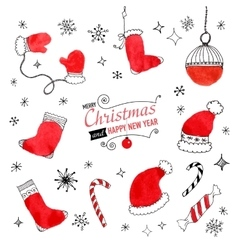 Set of hand drawn christmas doodles for design vector