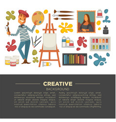 artistic studio poster with all tools to paint and vector image vector image