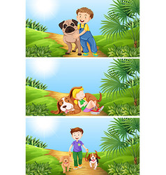 Boy and girl with pet dog vector image
