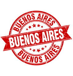 Buenos aires red round grunge vintage ribbon stamp vector