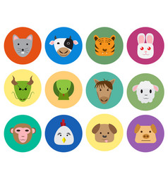 Chinese zodiac 12 animal icon in cute style vector