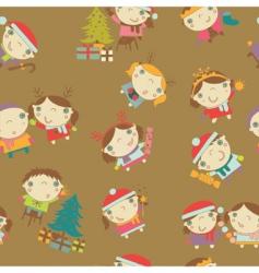Christmas kids pattern vector image