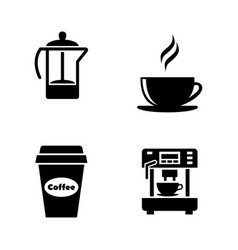coffee and tea simple related icons vector image