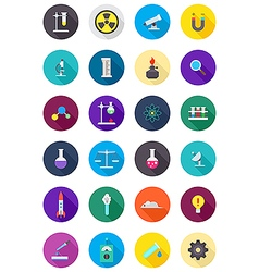 Color round science icons set vector image vector image