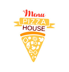 Colorful logo for pizza house menu with ribbon and vector