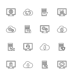 design set with hosting server database vector image vector image