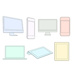 Digital devices in pastel colors vector