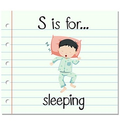 Flashcard letter s is for sleeping vector