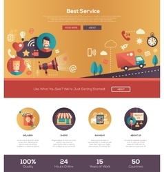 Flat design best service website header banner vector