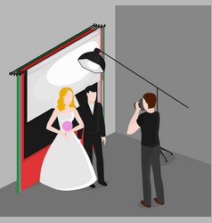 Flat isometric newlyweds photographing bride and vector