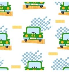 Green car seamless pattern vector image vector image