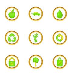 Green icons set cartoon style vector