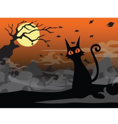 Halloween cat background vector