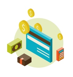 Isometric style with a bank cards vector